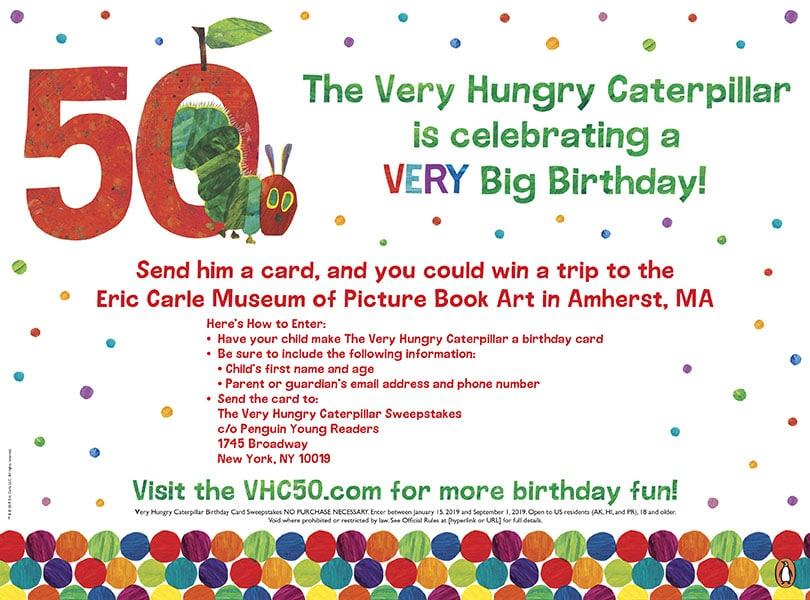 Win a trip to celebrate The Very Hungry Caterpillar's 50th